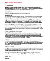 Letter Of Agreement Samples Template Fascinating 48 Artist Agreement Contract Samples Sample Templates