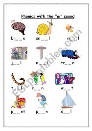 Sounds and phonics worksheets for preschool and kindergarten, including beginning sounds, consonants, vowels and rhyming. Phonics With The Ai Sound Esl Worksheet By Gerbrandeeckhout