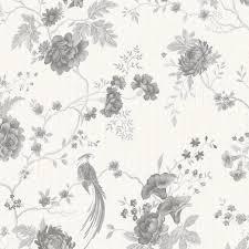 Graham & Brown Julien Macdonald Exotica White & Silver Floral & Birds  Wallpaper | Departments | DIY at B&Q