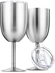 stainless steel wine glasses double wall insulated with lids set of 2 metal wine glass for outdoor travel camping red white wine goblet 14oz