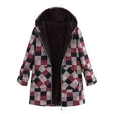 Limsea Plus Size Women Coat Outwear Hooded Cotton Linen