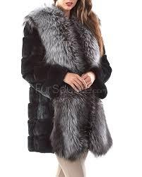 rex rabbit fur coat with large silver fox fur collar