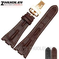 high quantity watch band 28mm fit ap black brown gary genuine cowhide leather strap band folding clasp for men ap watchband