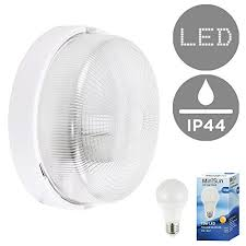 modern white ip44 rated outdoor garden security round robust bulkhead wall light complete with a