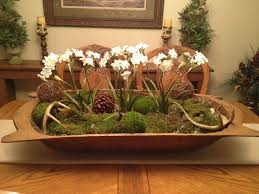 How To Decorate A Bowl Dough Bowl Centerpiece with flowering plants and moss balls has 58