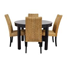 66 off macy39s ikea round black dining table set with 4 chair dining table