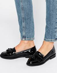 office frazzle tassle patent loafers womens in black patent leather office flat shoes h10f566