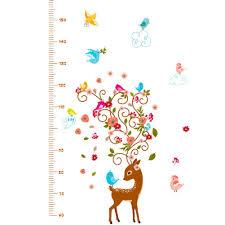 Cute Growth Chart Kids Diy Cute Sika Deer Height Growth Chart Wall Sticker