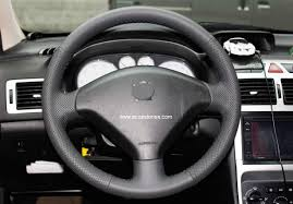 genuine leather steering wheel cover for peugeot 307 black thread