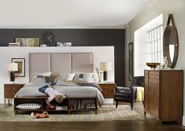 Black Task Lamp And Beige Carpeting Mid Century Bedroom Furniture - Black and walnut bedroom furniture
