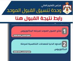 لينك الحصول على نتائج القبول الموحد في الأردن 2020
