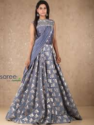 Designer Gowns For Indian Wedding Grey Silk Loop Sided Designer Gown By Asopalav Indian