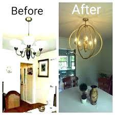 spray paint brass chandelier milk glass chandelier