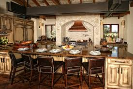 Rustic Looking Kitchens Kitchen Vibrant Spanish Home Kitchen With Long Rustic Table And