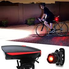 teekeer bike lights set bicycle headlight with horn 120 db and tail light ultra brightness
