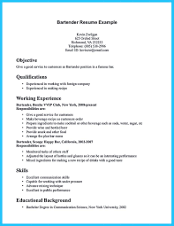 Bartender Resume Template Awesome Bartender Resume No Experience