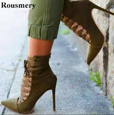 New Design <b>Pointed Toe Lace</b> up Suede Leather Amy Green High ...