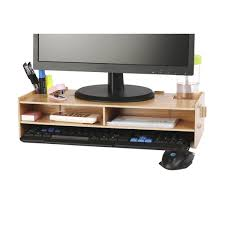 azlife desktop monitor stand wooden monitor riser tv stand with slots for office supplies and storage