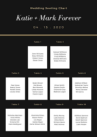 Canva Seating Chart Template Black And White Simple Elegant Seating Chart Templates By
