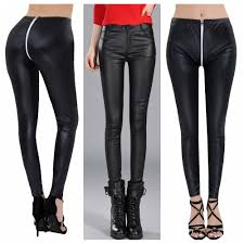 details about pu leather pants women high waisted elastic zipper shiny long pants trousers