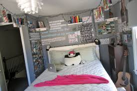 bedroom wall decor for teenagers. Teen Bedroom Wall Decor With String Lights And Letter Sticker Poster Also Open Shelves For Teenagers