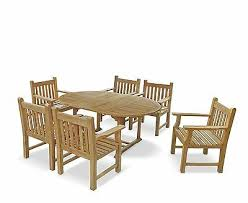 6 seater teak garden dining set with extendable outdoor table 1 8m arm chairs