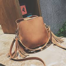 las three pockets handbags female vintage retro shoulder cross bag women small soft leather buckets bag handbag fit style