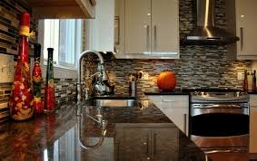 black tile kitchen countertops. Kitchen:Stunning Kitchen With Coffee Brown Granite Countertop Also Stainless Faucet And Black Tiles Backsplash Tile Countertops P