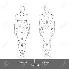 Healthy Young Man From Front And Back View In Outline Style