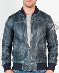 mens slim fit leather er jacket stone wash blue front