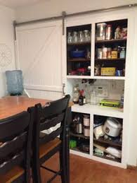 brian built barn doors. Barn Door Open, My Built In Hutch Converted To A Pantry With Sliding Brian Doors