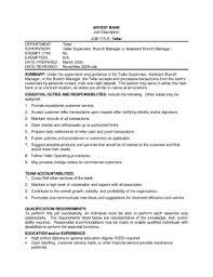 Work Description Form Arvest Bank Teller Job Description Fill Online Printable