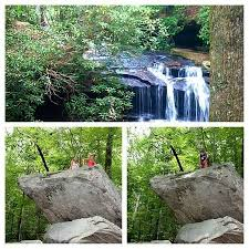 table rock climbing and a waterfall