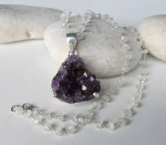 raw amethyst necklace boho statement necklace rough purple stone necklaces rock raw crystal necklace beaded necklace amethyst