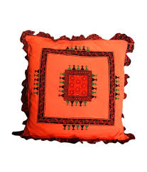 RangDesi Orange Cushion Cover 24x24 inches Buy line at Best