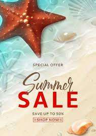 Summer Sale Flyer Template Holiday Background With Realistic