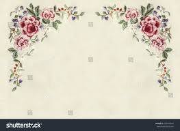 Flower Edge Design Edge Corners Embroidery Roses Small Flowers Stock Photo
