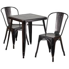 23 75 square black antique gold metal indoor outdoor table set with 2 stack