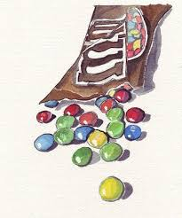 watercolor painting m and ms candy watercolor art print 8x10