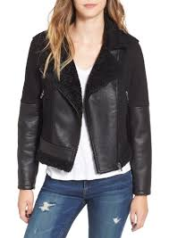 blanknyc faux leather denim moto jacket with faux shearling lining