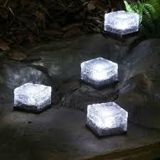 Berkley Jensen Solar Security Light Solar Powered Led Glass Ice Cube Brick Block Frosted Garden Patio Pathway Light