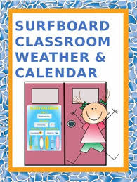 Classroom Weather Calendar Chart Surfboard Themed