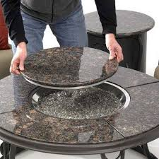 round gas fire pit table phenomenal com with granite top and lazy susan patio decorating