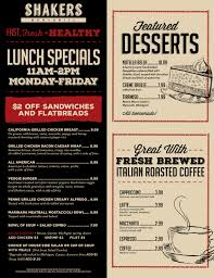 specials menu menu shakers bar and grill wixom serving craft beer