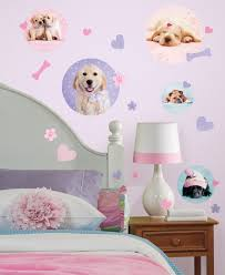 Puppy Wallpaper For Bedroom Puppy Dogs Wall Decals Stickers Pink Purple For Girls Kids Room