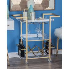 Gold Finished Iron and Clear Acrylic 3 Tier Cart The Home