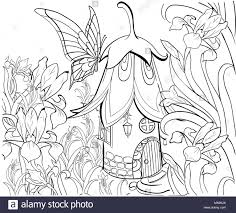 fairy house for coloring book fl elements erfly and flowers anti stress coloring for tattoo stencil zentangle style black and whit