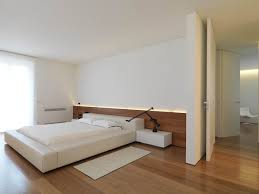 Simple Apartment Bedroom Design With Low White Upholstery Leather
