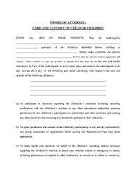 Power Of Attorney For Child Care Fillable Online California General Power Of Attorney For