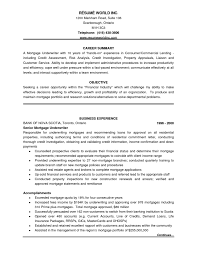 Underwriter Resume Sample Job And Resume Template